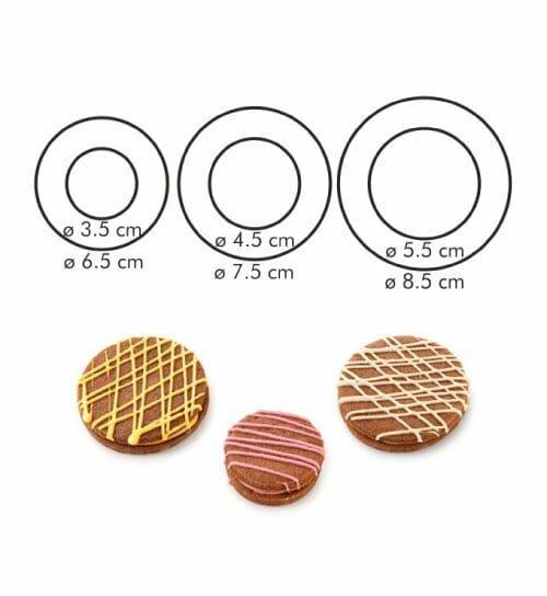 Dvipusių apvalių sausainių formelių rinkinys (lygus kraštelis, 6 dydžiai)